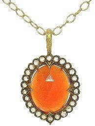 Cathy Waterman Scalloped Frame Fire Opal Pendant - 22 Karat Gold