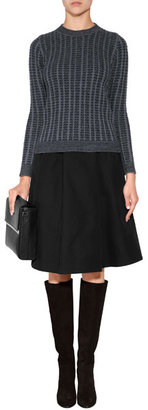 Jil Sander Navy Cotton-Silk Skirt in Black