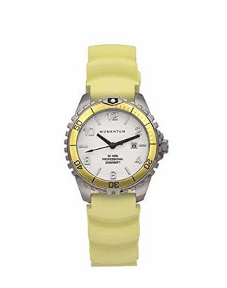 Momentum Women's Quartz Watch | M1 Mini by | Stainless Steel Watches for Women | Dive Watch with Japanese Movement & Analog Display | Water Resistant Ladies Watch with Date - White/Yellow Rubber