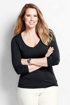 Lands' End Women Plus Size Long Sleeve Shaped Layering V-neck T Shirt