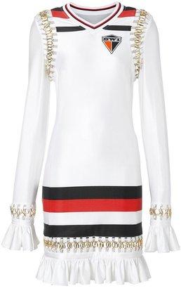 Burberry Ring-pierced Striped Stretch Jersey Mini Dress