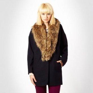 Red Herring Navy faux fur collar coat