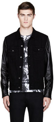 Rag and Bone RAG & BONE Black leather-sleeved denim jacket