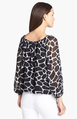 Chaus Giraffe Print Chiffon Peasant Blouse