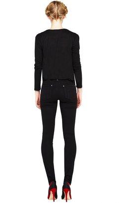 Alice + Olivia 5 Pocket Skinny With Leather Waistband & Belt Loops