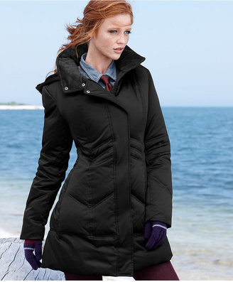 DKNY Zigzag-Quilted Hooded Puffer Coat