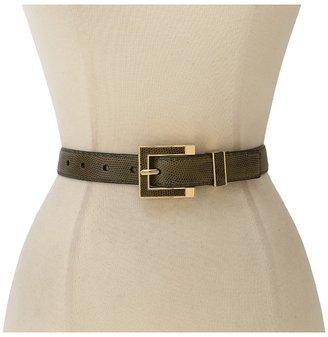 Vince Camuto Canvas Metallic Snake Panel Belt (Olive) - Apparel