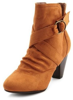 Charlotte Russe Sueded X-Front Ankle Boot