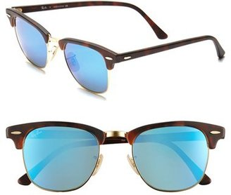 Men's Ray-Ban 'Flash Clubmaster' 51Mm Sunglasses - Tortoise/ Blue Mirror $175 thestylecure.com