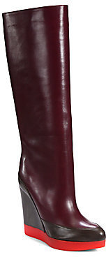 Jil Sander Colorblock Leather Wedge Knee-High Boots