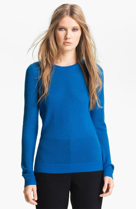 Nordstrom Miss Wu 'Sofie' Stitch Detail Cashmere Sweater Exclusive) Blue Azure Small