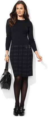 Lauren Ralph Lauren Dress, Three-Quarter-Sleeve Plaid Sweaterdress