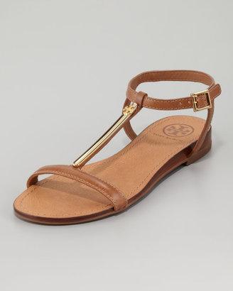Tory Burch Pacey Gold-Bar Flat Sandal