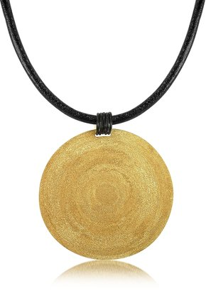 Stefano Patriarchi Golden Silver Etched Large Round Pendant w/Leather Lace