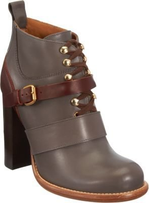Chloé Belted Lace-Up Ankle Boot