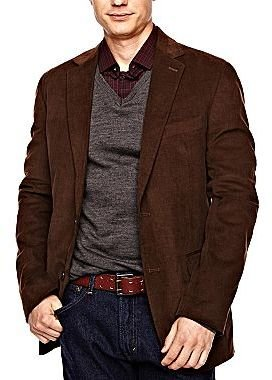 JCPenney Stafford® Elephant Taupe Corduroy Jacket