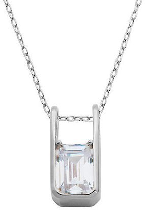 Lord & Taylor Sterling Silver and Emerald Cut Cubic Zirconia Pendant Necklace