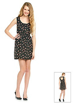 Sequin Hearts Juniors' Bird Print Dress
