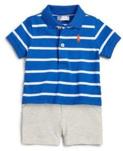 Ralph Lauren Infant's Two-Piece Striped Polo Shirt & Shorts Set