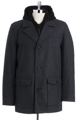 GUESS Hooded Wool Pea Coat