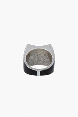 Maison Martin Margiela Black and silver reversed Profile ring