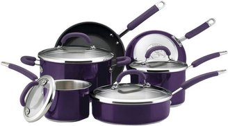 Rachael Ray Colored Stainless Steel 10-Piece Cookware Set in Eggplant