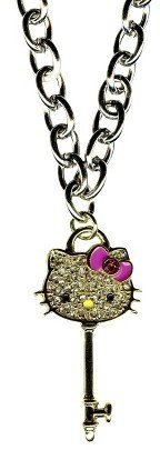 Hello Kitty Chain Necklace with Key Pendant - Silver