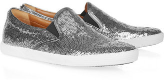 Jimmy Choo Demi leather-trimmed sequined sneakers