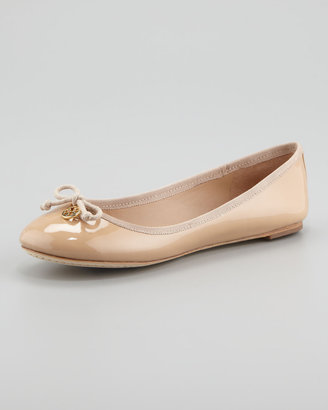 Tory Burch Chelsea Bow-Toe Patent Flat, Camilla Pink