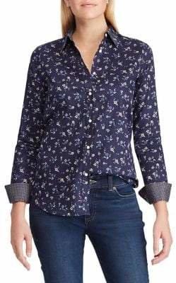 Chaps Petite No-Iron Sateen Shirt