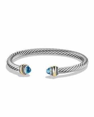 David Yurman Cable Classics Bracelet with Blue Topaz and Gold $625 thestylecure.com
