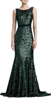 Badgley Mischka Sleeveless Mermaid Sequined Gown