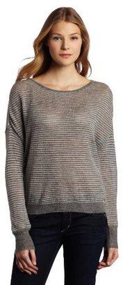 C&C California Women's Stripe Long Sleeve High Low Ballet Neck Sweater
