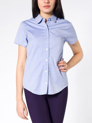 Oxford Pinpoint Round Collar Short Sleeve Button-Up