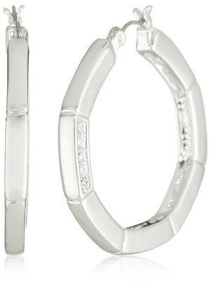 T Tahari Silver and Crystal Hoop Earrings