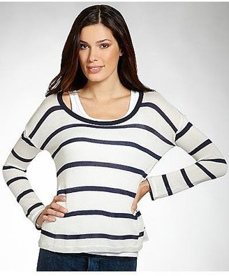 Splendid Harbor Stripe Loose Knit Long Sleeve Top T-shirt