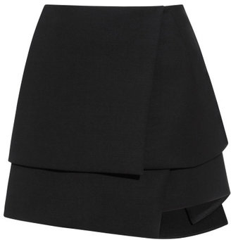 Narciso Rodriguez Black Chintzed Wool Suiting Skirt