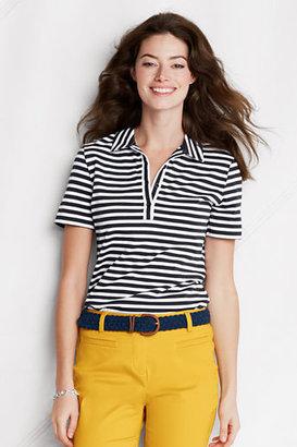 Lands' End NQP Women's Regular Short Sleeve Stripe Supima Polo Shirt