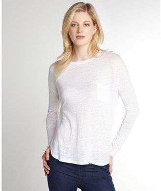 Vince white linen long sleeve chest pocket t-shirt