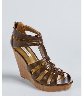 Cynthia Vincent chocolate leather 'Jackson' wedge sandals
