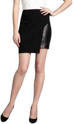 Alexander Wang black leather and asymmetrical draped overlay skirt