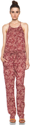 Etoile Isabel Marant Seth Printed Cotton Voile Jumpsuit in Rouge