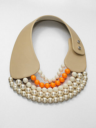 Florian Leather and Bead Collar Necklace
