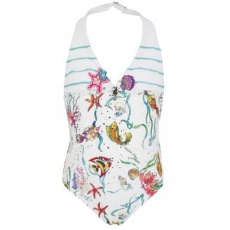 Pate De Sable White Sea Print Swimsuit
