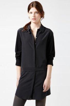 Lacoste Long Sleeve Pique Silk Mixed Crepe Silk Tunic Woven Top