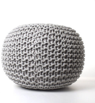 Fab Knitted Round Pouf Light Gray