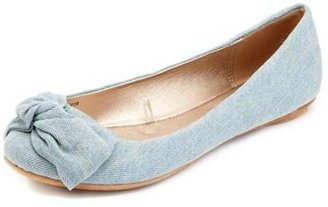 Charlotte Russe Chambray Twisted Bow Flat
