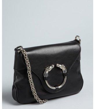 Gucci black leather horseornament chain strap shoulder bag
