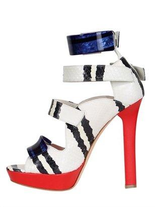 Alexander McQueen 130mm Snake Leather Sandals