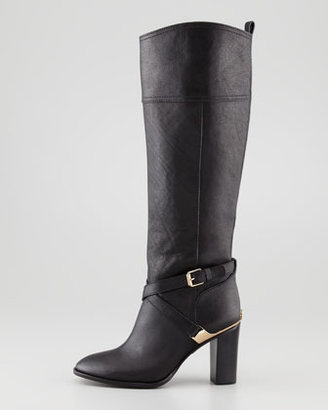 Tory Burch Livingston Leather Riding Boot, Black